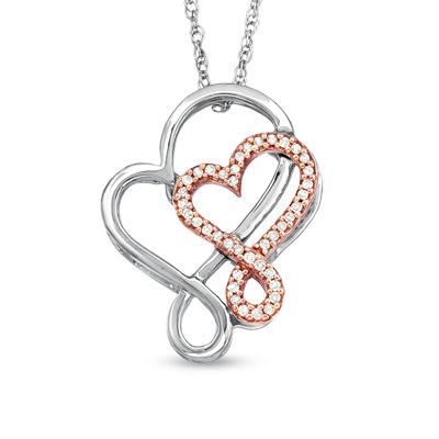Z trends blog z trends tw diamond double heart pendant in sterling silver and 10k rose gold mozeypictures Choice Image