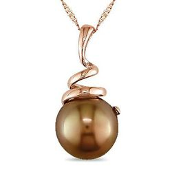 Chocolate cultured pearl swirl pendant
