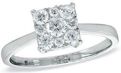 Half CT. T.W. Diamond Composite Square Ring in 10K