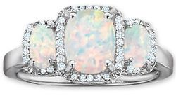 Cushion-Cut Lab-Created Opal Three Stone Ring