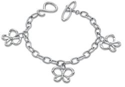 Diamond Accent Butterfly Charm Toggle Bracelet in Sterling Silver