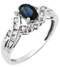 Oval Blue and White Sapphire Ring