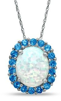 Oval Lab-Created Opal and Blue Topaz Framed Pendant