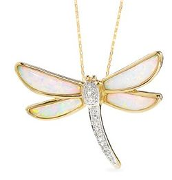 Lab-Created Opal Dragonfly Pendant