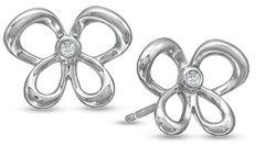 Diamond Accent Diamond Butterfly Stud Earrings in Sterling Silver