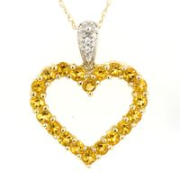 Citrine and Diamond Accent Heart Pendant