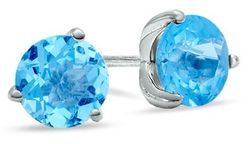 7.0mm Blue Topaz Stud Earrings in Sterling Silver