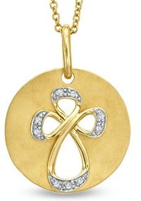 Diamond Accent Cross  Medallion Pendant