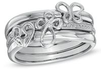 Diamond Stackable Three Piece Ring Set in Sterling Silver