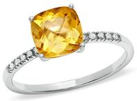 Cushion cut citrine ring 10k