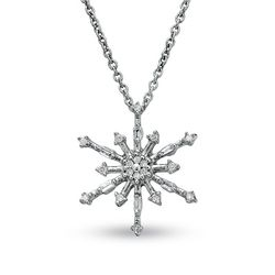 Diamond snowflake pendant 10k white gold
